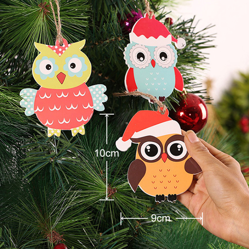 2 pcs cute mini christmas owl ornament xmas decoration for home random delivery christmas tree decoration xmas supply new year in pendant drop ornaments - Christmas Tree Decorated With Owls