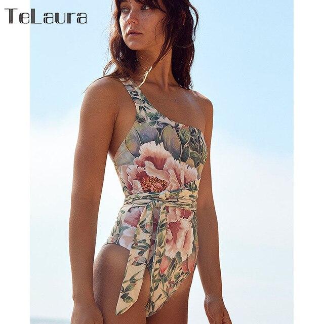2020 Sexy One Piece Swimsuit Women Swimwear Push Up Monokini Print Bandage One shoulder Bathing Suit Bodysuit Beach Wear Female 1
