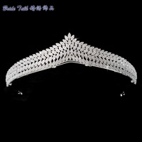 Full 5A CZ Cubic Zirconia Wedding Bride Leaves Tiara Crown Hair Jewelry Accessories Rhinestone Crystals Tiaras S16239