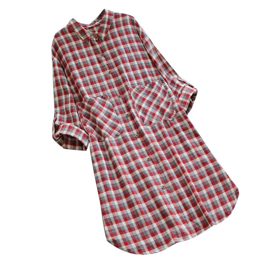 Alerte Plaid Chemise De Grande Taille Robe Revers Bouton Poche Mode à Manches Longues Robe En Plein Décontracté Quotidien Porter Fête élégant Lâche Robes