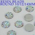 Contas de resina 500 pcs 10mm 200 pcs 12mm 100 pcs 14mm Cristal AB Rodada Natator Cola Na strass DIY Artesanato Decorações Vestuário