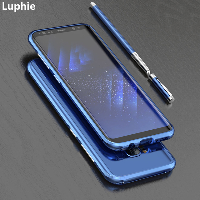 sports shoes 344f3 5017e US $12.74 9% OFF|LUPHIE For Samsung Galaxy S8 Case Cover Luxury Slim Hard  Metal Aluminum Protective Bumper Phone Case for Samsung S8 Plus Case-in ...