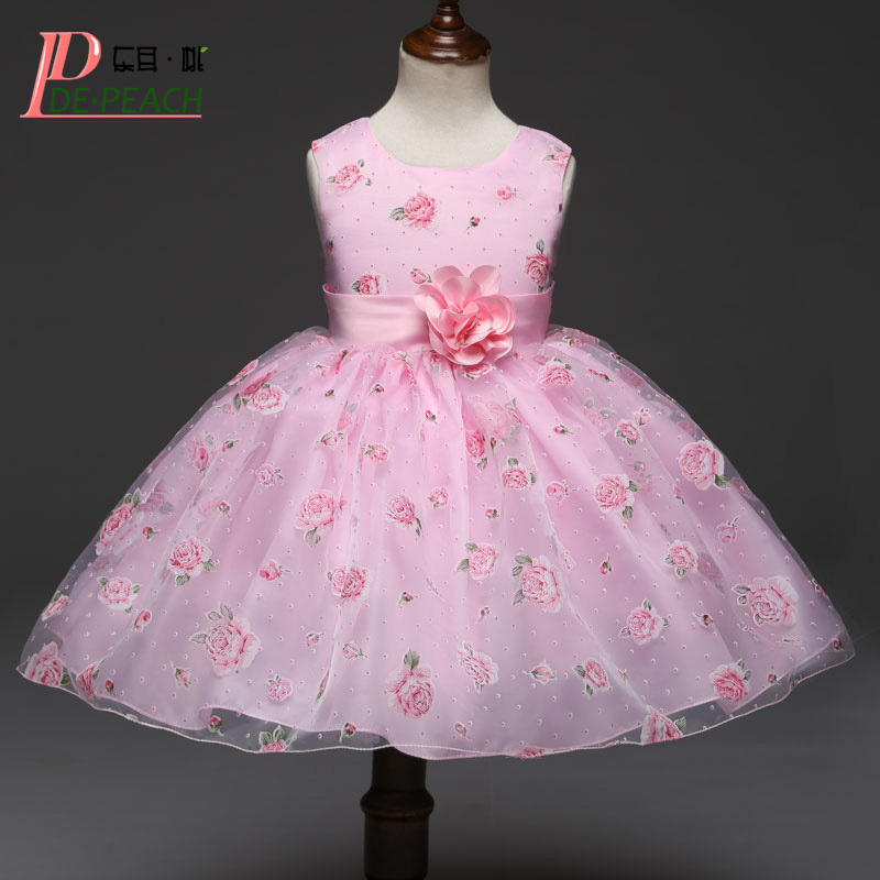 DE PEACH New Summer Baby Girl Print Flowers Dress Girls Wedding Princess Party Dress With Bow Pink Kids Christmas Clothing