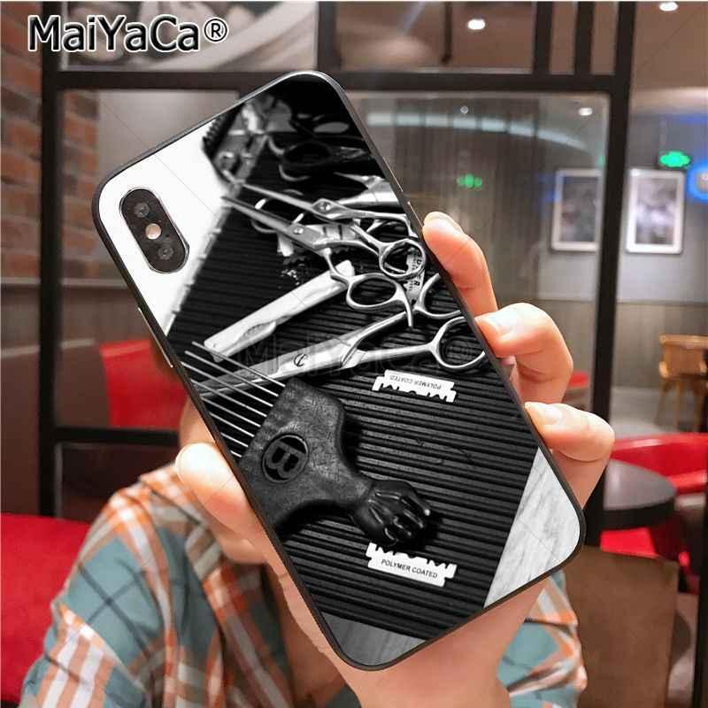 MaiYaCa מספריים מעצב שיער מברשת מתג הדפסת ציור שחור TPU מקרה טלפון עבור iPhone X XS XR XS מקסימום 8 7 6 6 S בתוספת 5 5S SE