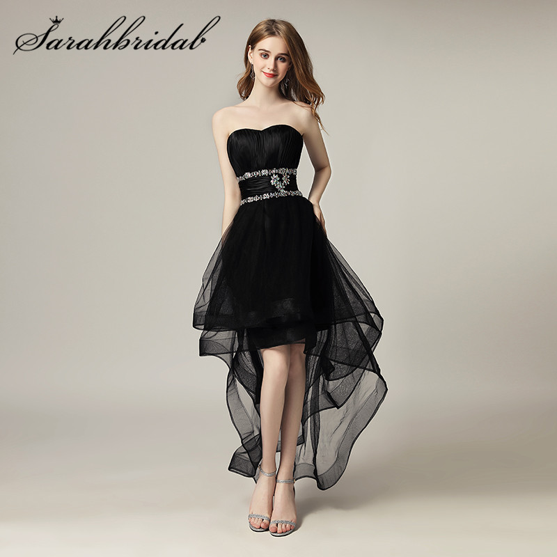 High Low Black Girls Prom Dresses Sweetheart Beaded Crystals Zipper Back Tulle Cocktail Party Gowns Vestido Longo Aj014