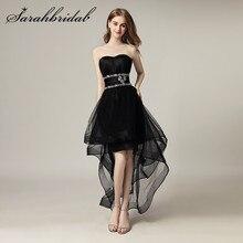 Hoge Lage Junioren Meisje Homecoming Prom Jurken Sweetheart Kralen Kristallen Zipper Tulle Cocktail Party Gown Vestido Longo AJ014