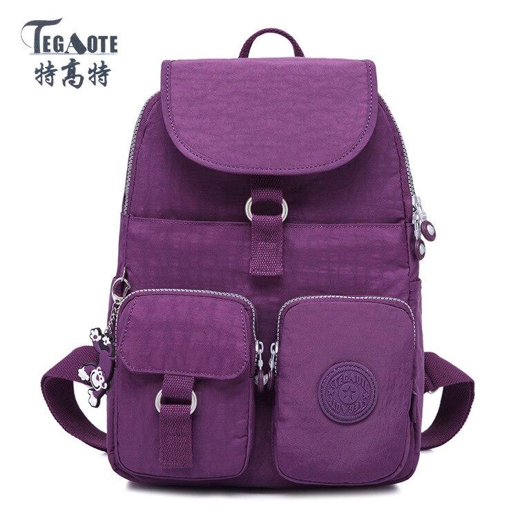 TEGAOTE Pocket Pattern Backpack for Teenage Girls Mochila Feminina Escolar Solid Backpacks Women  Nylon backpack women backpack solid schoolbags backpacks for teenage girls hot lona escolar mochila feminina backpack women mochilas mujer 2017