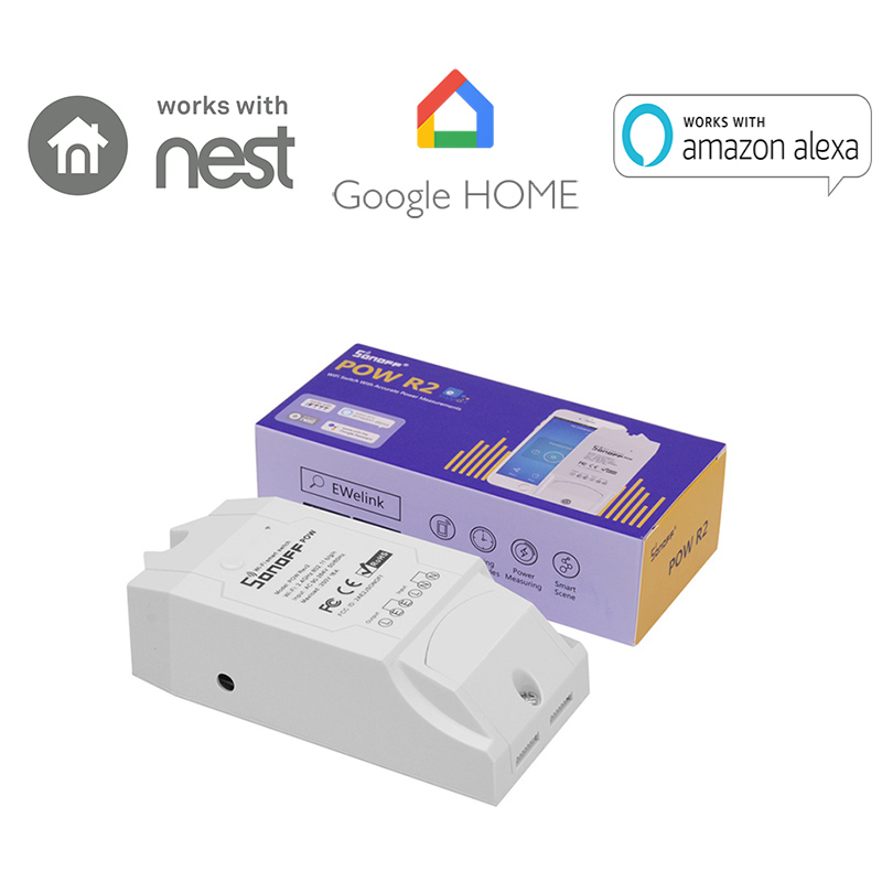 Sonoff Pow R2 Wireless Smart WiFi Switch ON/Off 16A With Real Time Power Current Consumption Measurement 3500W by IOS Android цена