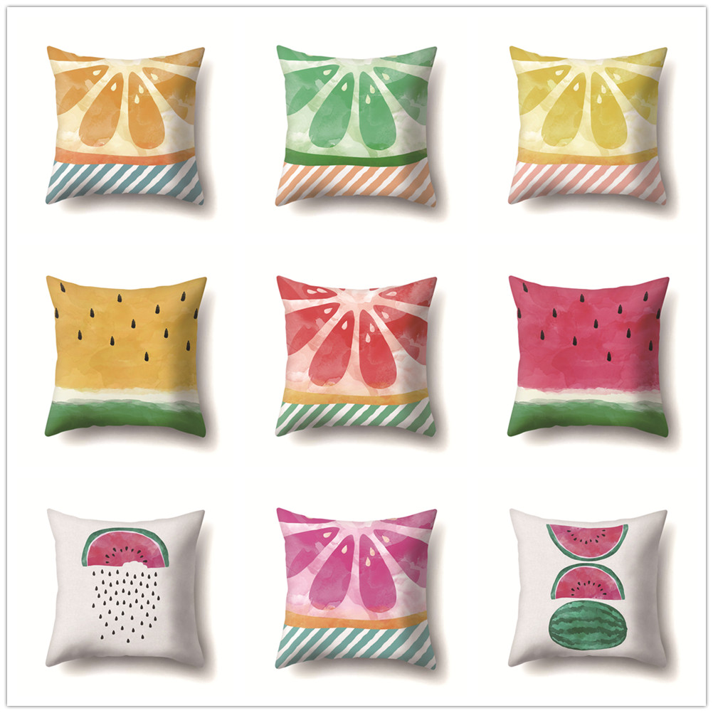 Summer Fruit Cushion Cover Watermelon Lemon Pattern Sofa Office Car Bed Living Room Decorative Soft Pillow
