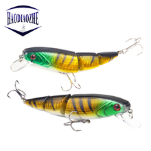 Купить с кэшбэком HAODIAOZHE 1PCS Jointed Fishing Lure 10.5CM/15G Minnow Plastic Artificial Fishing Wobbler Tools Jerk Fish Carp Pesca Tackle YU51