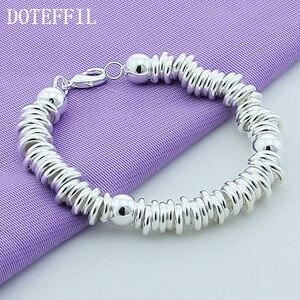 Image 3 - DOTEFFIL 925 סטרלינג כסף מוצק חרוזים מלא מעגל צמיד שרשרת לנשים גברים חתונה מסיבת אירוסין תכשיטים