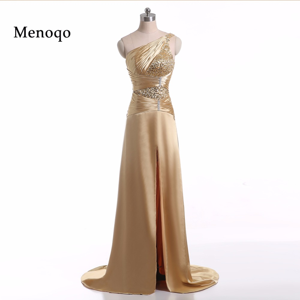 PRD272 Real Photo A line Side split Beaded One shoulder Evening gown ...