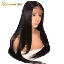 Glueless Lace Front Human Hair Wigs Peruvian Silky Straight Remy human Hair For Women Natural Color Bleached Knots #1b Sale 150%(China)