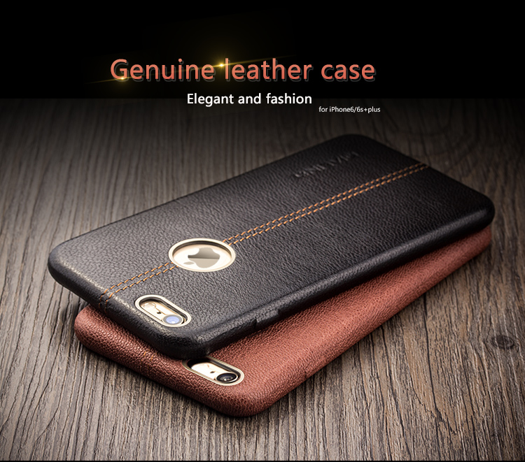 new styles 5bf0e f4152 US $34.5 |Vintage QIALINO Genuine Leather Case For Iphone 6s Plus 6 Slim  Deerskin Grain Leather Back Cover For Iphone 6 plus Phone Bags-in ...