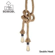 BDBQBL Retro Vintage Rope Pendant Light Lamp Loft Nordic European Industrial Lamp Edison Bulb American Style For Living Room E27