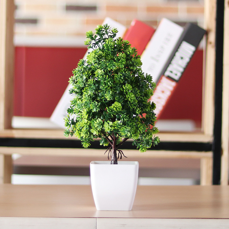 NEW Artificial Flowers Fake Green Pot Welcoming Bonsai Simulation Artificial Potted Plant Ornament Home Hotel Office Decor
