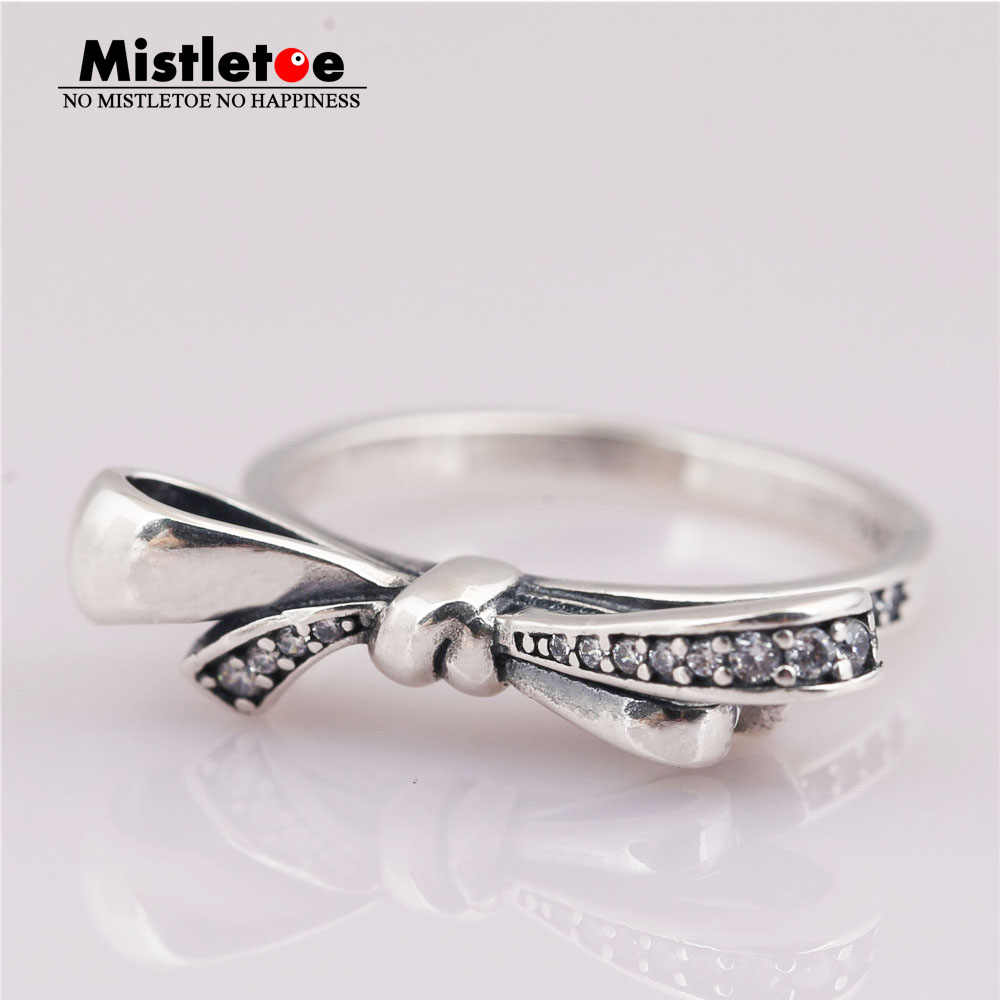 0e6275deb Mistletoe 100% 925 sterling Silver Brilliant Bow Ring, Clear CZ Compatible  with European Jewelry