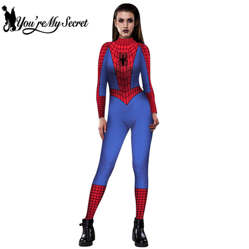 [You're My Secret] Hot Fashion Spider Man Hero Movie Tv Cosplay Constume Women Jumpsuit Sexy Party Long Sleeve Catsuit Bodysuit