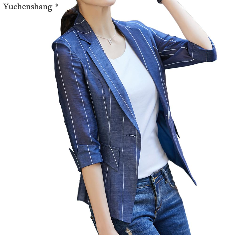 Summer Wear Women Striped Casual Thin Blazers and Jackets Girl Half Sleeve Coat Breathable Soft Fabric
