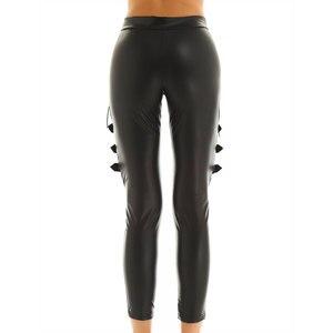 Image 4 - TiaoBug pantalon Faux cuir femme, noir, épissure de résille, Sexy, Slim, extensible, Punk, gothique, Rave, soirée en boîte de nuit