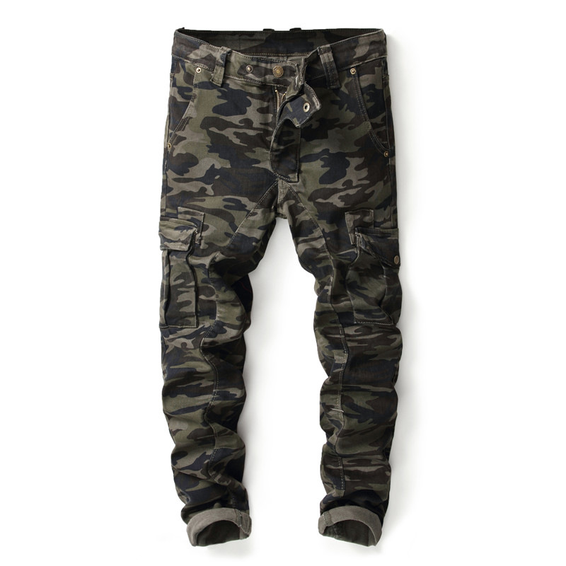 New Military Style Camo Green Cargo pants Men Casual Motorcycle Biker Jeans Stretch Multi Pockets Tactical Combat Army Jean