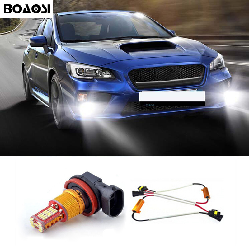 BOAOSI 1x H11 bulbs Cree LED Chips High Power Car Light Fog Lamp No Error For BMW E71 X6 M E70 X5 E83 F25 x3 Audi Mercedes-Benz boaosi 1x h11 high power led light 4014 33smd 30w fog light driving drl car light no error for bmw e71 x6 m e70 x5 e83 f25 x3
