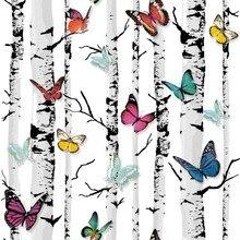 Декоративные Обои Дерево Mural Цвет Бабочки ПВХ Обои для Гостиной Береза Дерево Обои для Стен, papel parede 3D