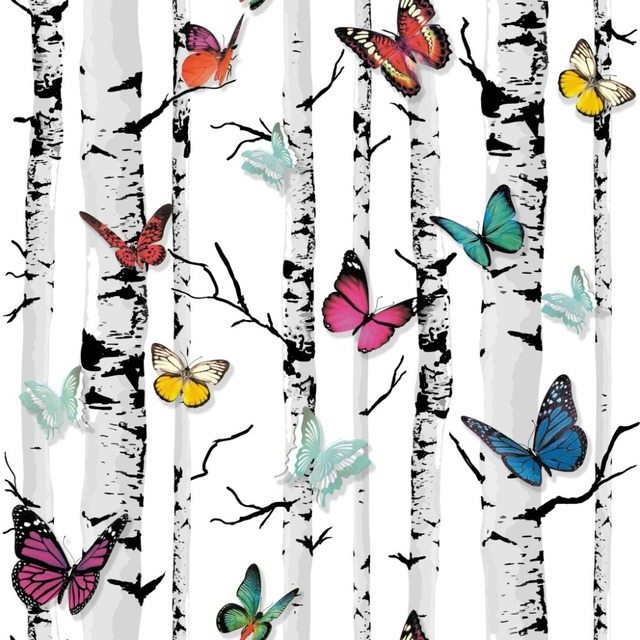 Decorative Wallpapers Tree Mural Color Butterfly PVC Wall Paper For Living Room Birch Wallpaper