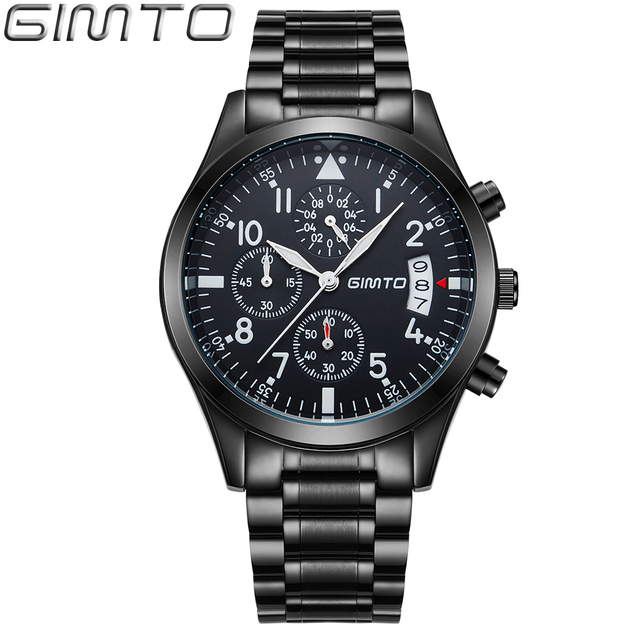 793f299b8cd 2017 GIMTO Esporte Marca Homens Relógio de Quartzo Moda Luxo Casual Relógios  de Aço À Prova