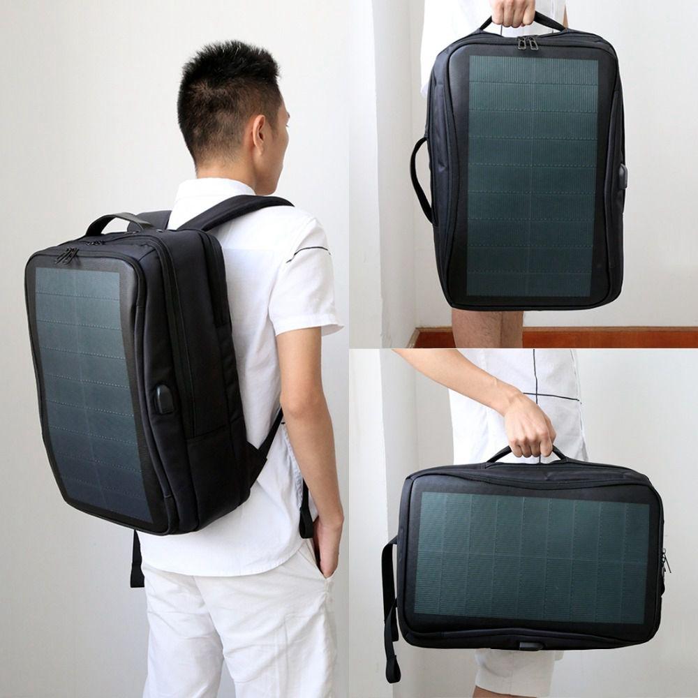HAWEEL sac à dos solaire extérieur sacs panneau solaire Flexible 14 W sac à dos pour ordinateur portable + poignée + USB ordinateur portable tablette sacs - 6