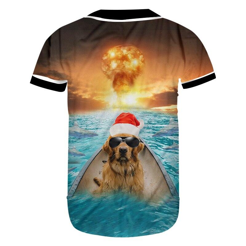 b1e8a9c6fd38 OGKB Christmas 3D Printed Fish And Sunglasses Dog Tshirt Personality  Explosion Background Spandex Lady Baseball Shirt