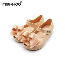 Mini Melissa Mini Tiga Busur Jelly Gadis Sandal Baru Gadis Sandal Anak Sepatu Sepatu Jelly Sandal Bayi
