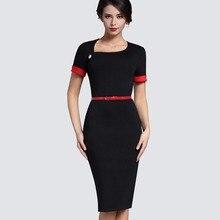 Ретро чистый черный формальный деловая модельная одежда Для женщин Нерегулярные декольте короткий поворот Пух рукавами Пояса облегающее платье миди B350