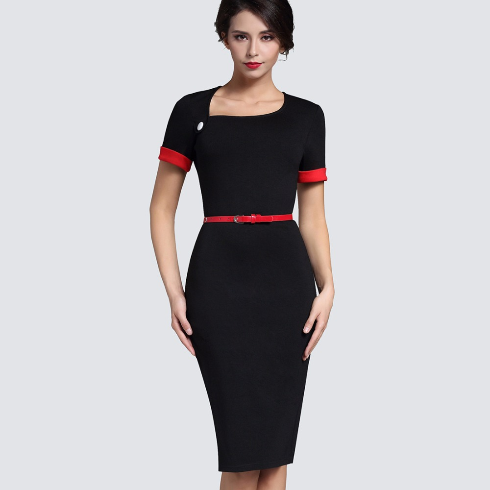 Buy Cheap Retro Pure Black Formal Office Dress Women Irregular Neckline Short Turn-Down Sleeve Button Sashes Bodycon Midi Dress B350