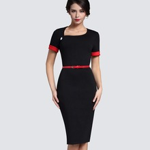 Retro Pure Black Formal Office Dress Women Irregular Neckline Short Turn-Down Sleeve Button Sashes Bodycon Midi Dress B350