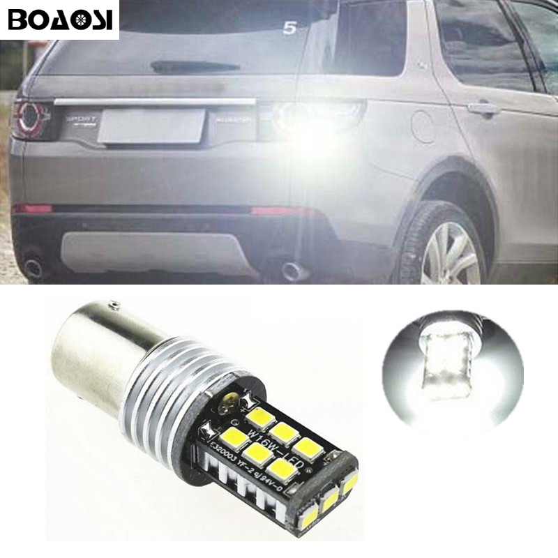 BOAOSI 1x LED Canbus 1156 Ba15s 15LED 2835smd Backup Reverse Light Bulb for Land Rover Discovery 3 Range Rover Freelander wljh 2x canbus 20w 1156 ba15s p21w led bulb 4014smd car backup reverse light lamp for bmw 228i 320i 328d 328i 335i m3 x1 x4 2015
