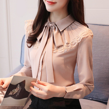 Elegant Bowtie Chiffon Womens Blouse Korean Simple Lace White Long Sleeve Autumn Fashion Buttons Formal Shirts for Women