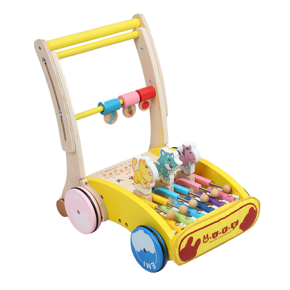 High Quality Baby Wooden Walker Hand Push Car Toy For Toddler Children Trolley Folding Adjusted Height Walker Walking Learning push along walking toy wooden animal patterns funny kids children baby walker toys duckling dog cat development eduacational toy
