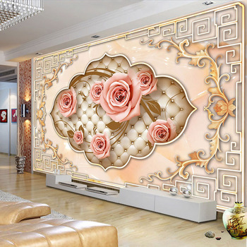 Custom Wall Mural European Style 3D Embossed Non-woven Rose Flower Photo Wallpapers For Living Room TV Background Wall Painting