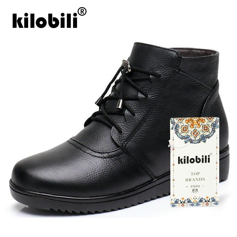 Caoutchouc 2019 Bottes D'hiver Véritable Vache Black Chaussures Cuir Avec En Kilobili Femmes Dames Chaussons Bottines Laine Zip Plat 7pqCxUn