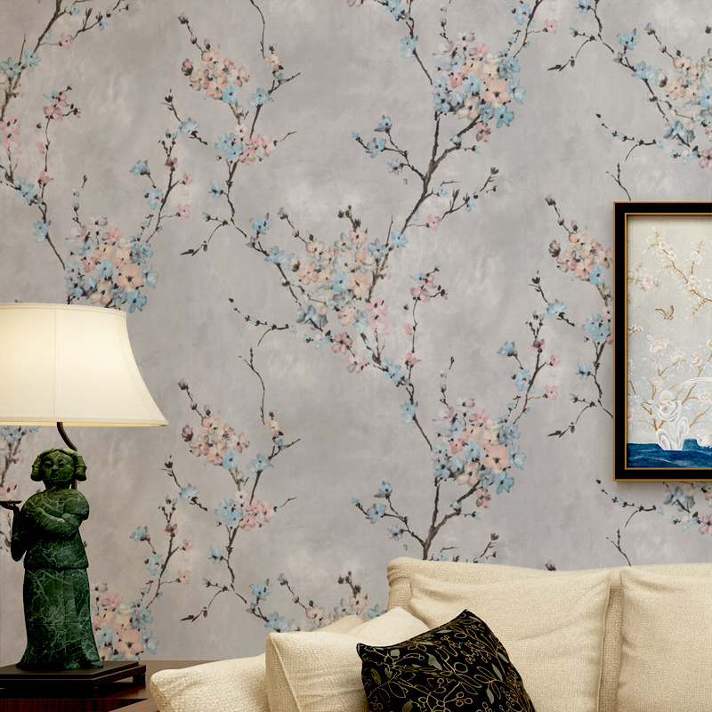 American Style Bedroom Non-woven Wallpaper For Walls Vintage Pastoral Plum Blossom Living Room TV Background Wall Paper Flower beibehang american style flowers non woven wallpaper ab restaurant living room tv background wall paper flowers type
