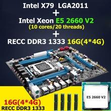 HUANAN X79 placa base CPU RAM combos Intel Xeon E5 2660 V2 (10 núcleos/20 subprocesos) LGA 2011 de memoria (4*4G) 16G DDR3 ECC REG