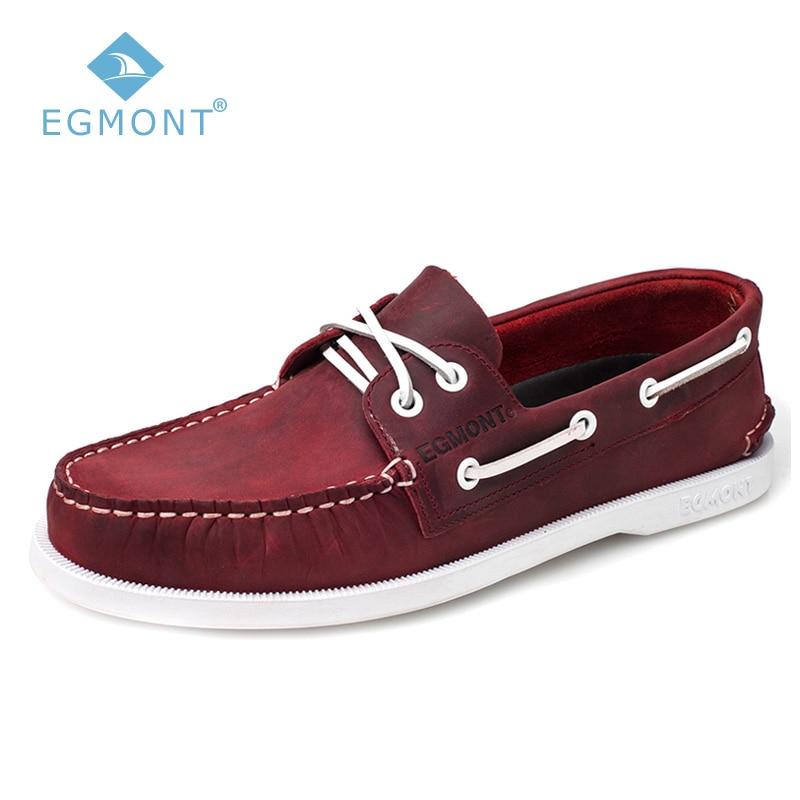Egmont EG-09 Primavera Vermelho Verão Sapatos de Barco Sapatos Casuais Mens Mocassins Genuíno Couro de Cavalo Louco Artesanal de Couro Confortável Respirável