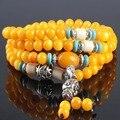 Ubeauty 108 perlas pulsera de plata de tíbet de la turquesa natural de piedra de jade amarillo collar budista rosario oración meditación pulseras