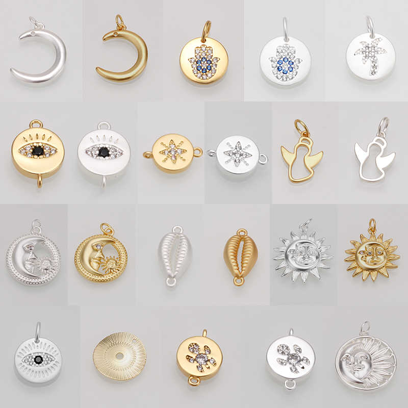 charms pendant for jewelry making Charm Fashion Star Cross Shape DIY Necklace big hole Accessaries gold silver copper wholesale