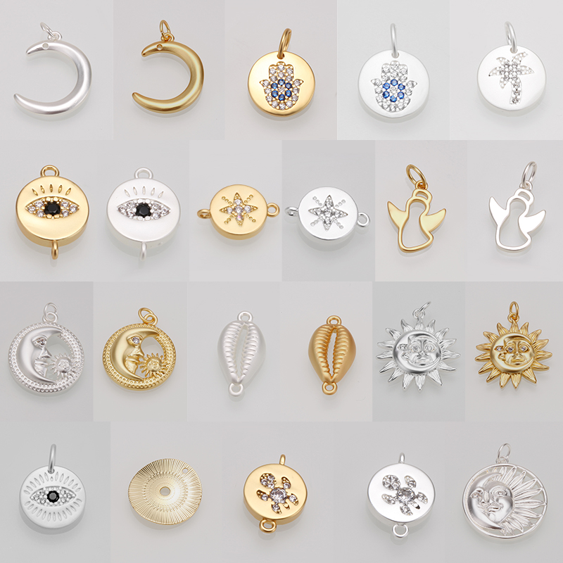 charms pendant for jewelry making Charm Fashion Star Cross Shape DIY Necklace big hole Accessaries gold steel copper wholesale