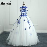 Quinceanera Dresses 2017 New Arrival Engerla Halter Floor Length Ball Gown Off The Shoulder Lace Latest