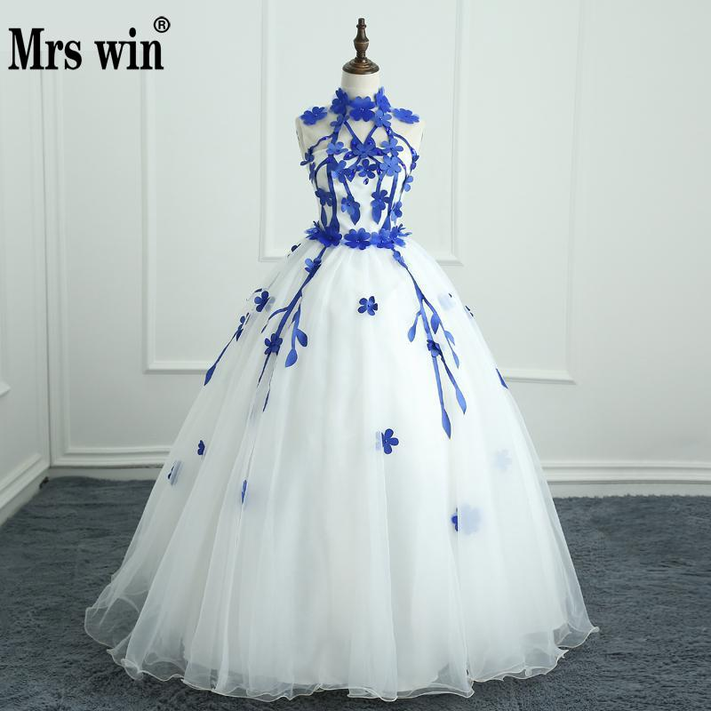 Quinceanera Dresses Mrs Win Engerla Halter Floor-length Ball Gown Off The Shoulder Lace Latest Party Prom Formal Gowns