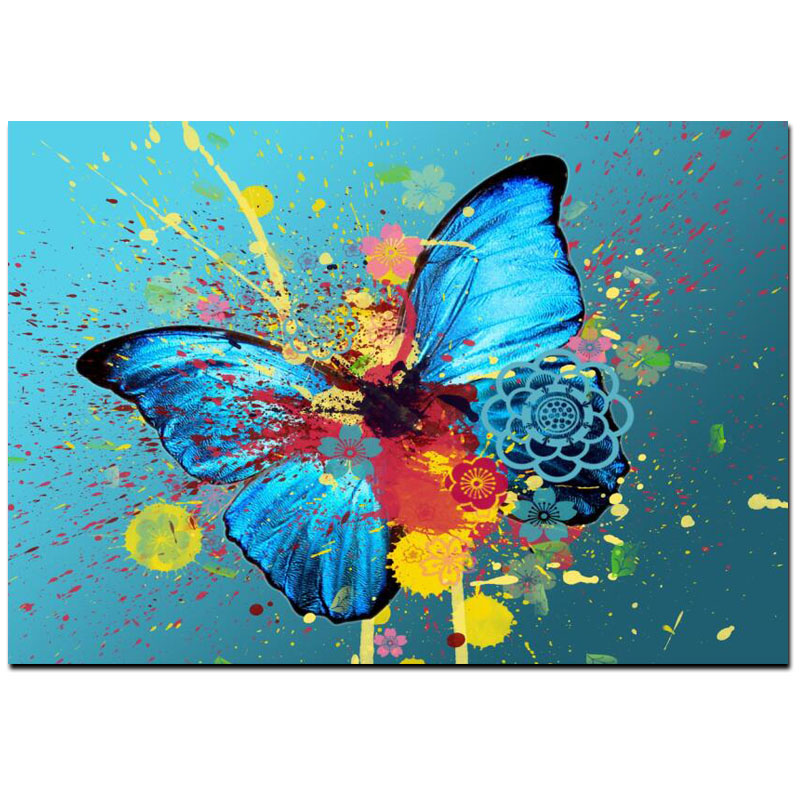 Abstract Butterflies Graffiti Painting Printed on Canvas