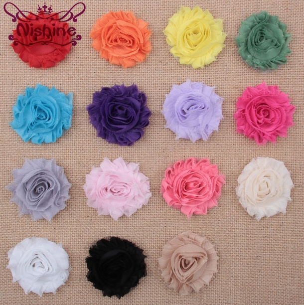 Nishine 10pcs/lot 15colors Fashion Chic Shabby Chiffon Flowers For Kids Hair Accessories 3D Frayed Fabric Flowers For Headbands